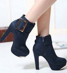 Chic Blue Buckle Design Sued High Heel Fashion Boots