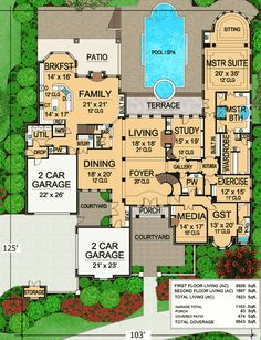 Stunning European Home Plan - 36154TX | European, French Country, Hill Country, Luxury, Photo Gallery, Premium Collection, 1st Floor Master Suite, Butler Walk-in Pantry, CAD Available, Courtyard, Den-Office-Library-Study, Jack & Jill Bath, Loft, MBR Sitting Area, Media-Game-Home Theater, Multi Stairs to 2nd Floor, PDF, Corner Lot | Architectural Designs