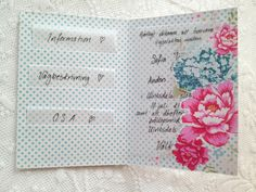 Handmade invitations with pockets for information such as directions, save the date, photos, registry info, etc.