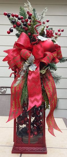 Christmas Lantern Swag Large Lantern Swag by TheChicyShackWreaths