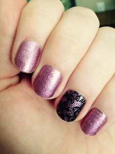 Jamberry's Pixie with a Stylebox exclusive clear black lace layered over my ring finger.