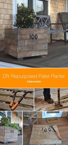 Click in to learn how to repurpose a rustic DIY planter out of wood pallets. Decorate your front porch with it and add house numbers for a personalized touch. Fill with your favorite flowers or even vegetables and herbs!