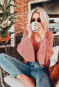 Coffee shop denim jeans summer style fashion spring hair sunglasses sunnies
