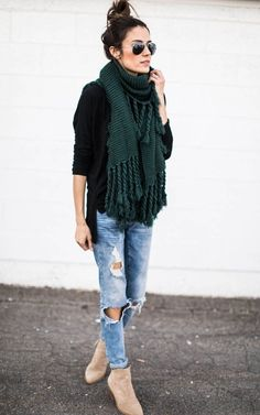 black loose tee + thick scarf + bf jeans + tan suede booties
