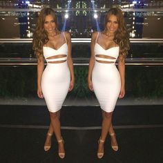 This sexy hollow out bodycon knee-length dress is unique and looks like two pieces dress suit, with this club dress, you will be popular and eye-cathing in the party.