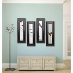 Rayne Black With Silver Caged Trim Mirror Panel, Set of 4