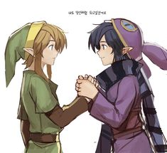The Legend of Zelda: A Link Between Worlds ~ Link & Ravio The Legend Of Zelda, Legend Of Zelda Breath, Zelda Twilight Princess, Malon Zelda, Creepypasta Anime, Majora Mask, Link Art, Saga, Wind Waker