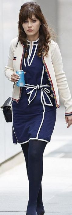 Zooey Deschanel: Purse – Chanel  Dress – Tommy Hilfiger
