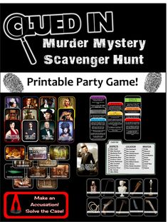 Clued-In Murder Mystery Scavenger Hunt - Printable Party Game Inspired by Clue (relay games scavenger hunts) Mystery Dinner Party, Dinner Party Games, Camping Party Games, Murder Mystery Games, Murder Mysteries, Mystery Novels, Cozy Mysteries, Murder Mystery Script, Mystery Games For Kids