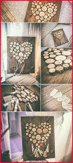 Wedding Gift Inspiration - A Heart of Wooden Slices and .- Hochzeitsgeschenk Inspiration – Ein Herz aus Holzscheiben und Moos aufgeklebt au… Wedding Gift Inspiration – A heart of wooden discs and moss pasted on to … – - Diy Wedding Gifts, Diy Gifts, Wedding Favors, Wedding Decorations, Wedding Gift Inspiration, Wooden Slices, Wooden Diy, Wooden Crafts, Inspirational Gifts