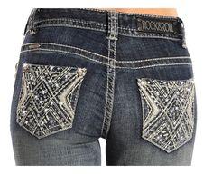 Rock & Roll Cowgirl Slim Dark Wash Jeans W1-2460