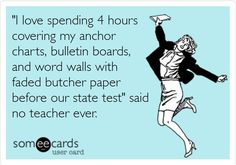 """Teacher Humor @The Pensive Sloth--""""I love spending 4 hours covering my anchor charts, bulletin boards, and word walls with faded butcher paper before our state test"""" said no teacher ever."""