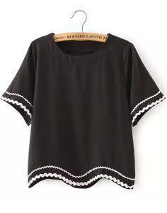 Black Peplum Trim Crop Shirt