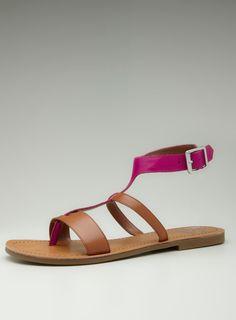 Flat T-Strap Double Band Sandal