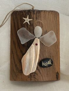 Nov 2018 - Excited to share the latest addition to my shop: Beachcomber angel/shell ornament/seaglass/ Sea Glass Crafts, Sea Crafts, Sea Glass Art, Stained Glass, Seashell Art, Seashell Crafts, Christmas Angel Crafts, Christmas Ornaments, Oyster Shell Crafts