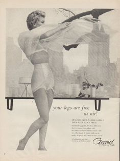 "1955 Gossard vintage print advertisement ""your legs are free as air!"""