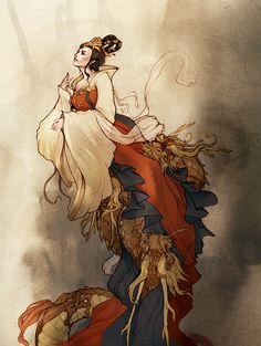 Long Mu or Mother of Dragons was a Chinese woman who was deified as a goddess after raising five infant dragons. Long Mu and her dragons developed a strong bond for each other, and have thus become an example of filial devotion and parental love, an important virtue in Chinese culture.