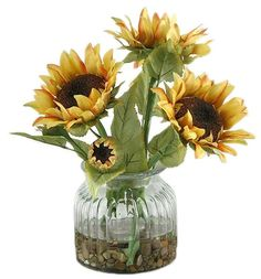 Sunflowers in Ribbed Vase - Faux Floral Arrangements   HomeDecorators.com  $75