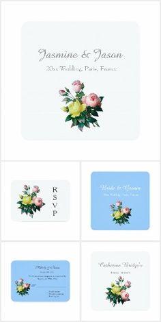 Vintage rose flowers wedding set