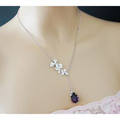 Personalized Necklace Bridesmaid Gift Orchid Trio Flower with... ($32) ❤ liked on Polyvore featuring jewelry, necklaces, letter charm necklace, chain jewelry, leaf necklace, charm chain necklace and letter charms