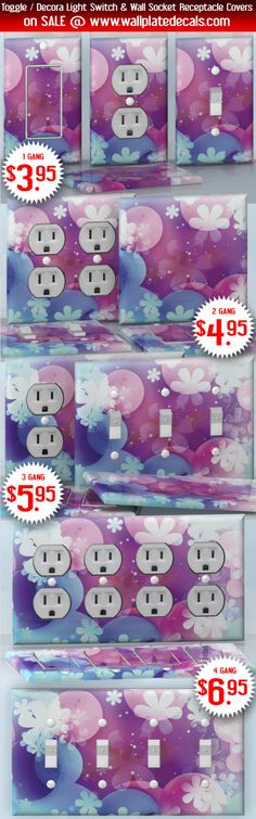 DIY Do It Yourself Home Decor - Easy to apply wall plate wraps | Flowers on the Purple Lake  White flowers on a colorful background  wallplate skin stickers for single, double, triple and quadruple Toggle and Decora Light Switches, Wall Socket Duplex Receptacles, and blank decals without inside cuts for special outlets | On SALE now only $3.95 - $6.95