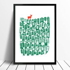 Deer Fine Art Print (Forest Green)