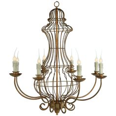 Genie Urn French Country Iron Frame 8 Light Antique Gold Leaf... (¥96,295) ❤ liked on Polyvore featuring home, lighting, ceiling lights, lights, steampunk, chain chandelier, iron chandelier lighting, iron ceiling lights, chain lamp and iron urn