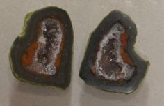 Tabasco Geode 1 Pair Cut and Polished Great for Jewelry #Unbranded