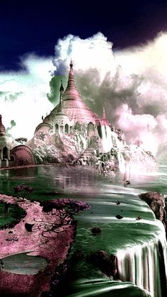 GIF image beautiful fantasy lanscape with castle and waterfall Images Gif, Gif Pictures, Beautiful Gif, Beautiful Pictures, Fantasy World, Fantasy Art, Fantasy Castle, Gif Bonito, Beau Gif