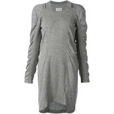 Maison Margiela ruched sleeve sweater dress ($1,285) ❤ liked on Polyvore featuring dresses, grey, gray sweater dress, gray dress, hi low dress, mullet dress and sweater dress