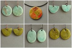 textured polymer clay earrings from Lisa Clarke of Polka Dot Cottage