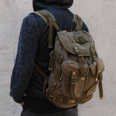 Vintage Military Backpack Mens Womens Bags Canvas | eBay