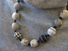 """Look great this season. This Louis Vuitton """"Knock Off"""" Fabric Bead Necklace is a fantastic piece that can be worn all year long. You'll love the look of this homemade Christmas craft."""