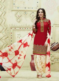 Dazzling Red and White Embroidered Cotton Patiala Suit