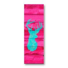 Hipster Teal Blue deer head Hot Pink Vintage Wood Business Card