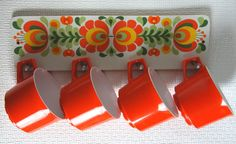 Vintage 1960s Orange Melamine Cups and Matching Rack