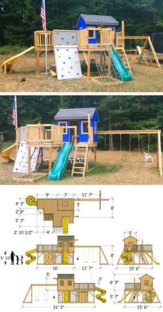 Playground Playhouse Plan 2 Sizes Playground Playhouse Plan 2 Sizes Helygon Uhrak helygonu CHYMKO IHRISKO A full play-set with a house rock wall slides cargo net nbsp hellip Kids Outdoor Play, Kids Play Area, Backyard For Kids, Outdoor Toys, Backyard Play Areas, Kids Playset Outdoor, Backyard Swing Sets, Backyard Playset, Backyard Playhouse