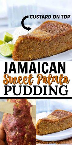 Vegan Jamaican Sweet Potato Pudding Vegan Jamaican Sweet Potato Pudding is the vegan version of this popular dessert enjoyed in Jamaica and the Caribbean throughout the year! It is very moist, rich, and indulgent! Vegan Dessert Recipes, Fudge Recipes, Vegan Sweets, Delicious Desserts, Cooking Recipes, Jamaican Desserts, Jamaican Dishes, Jamaican Recipes, Sweet Potato Dessert