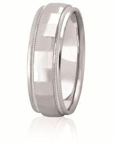 Diamond Ethced Square Center Wedding Band With Mil