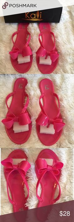 Hot Pink Sandals Hot pink bow sandals, NWB , They are like jelly shoes, super cute on .... Kali Footwear Shoes Sandals