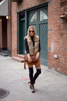 Katie's Bliss wearing a fall look featuring Aerosoles peep toe booties, a corduroy skirt, faux fur vest and leather clutch.