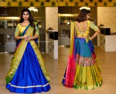 Your silk sarees have a charm that can turn any ordinary dress into an extraordinary one. But do you know that they can also be worn as dupattas with your regular lehenga sets? And there are many ways and drapes to do so, here are a few on Threads. Lehenga Saree Design, Half Saree Lehenga, Saree Gown, Lehenga Designs, Saree Blouse Designs, Half Saree Designs, Fancy Blouse Designs, Saree Wearing Styles, Saree Styles