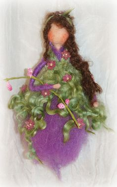 felted hanging Purple Fairy 7.5 inch by FairyfeltbySiSo on Etsy