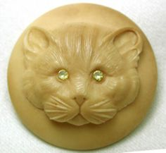 Hand Carved Vegetable Ivory Button Cat Face Design Lg Sz w/ Paste Eyes Gorgeous $31.22
