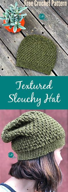 Crochet Pattern Hats Free Pattern for a textured slouchy hat. - Textured slouchy hat free crochet pattern with photos. Great beginner pattern that includes all the stitch details. Works up in less than one ball of yarn! Crochet Adult Hat, Bonnet Crochet, Crochet Slouchy Hat, Slouch Hats, Slouchy Beanie, Crocheted Hats, Crochet Shawl, Crochet Gratis, Free Crochet