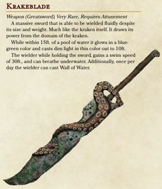 dungeons and dragons Homebrewing ADRPGIDEAS Made a kraken-themed sword for a kraken cult my. Dnd Dragons, Dungeons And Dragons 5e, Dungeons And Dragons Characters, Dungeons And Dragons Homebrew, Dnd Characters, Fantasy Weapons, Fantasy Rpg, Kraken, Dnd Stats