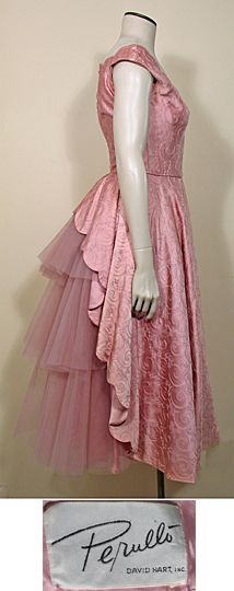 1950s Vintage Rose Pink Satin and Net Party Dress by Perullo David Hart