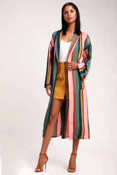 53b5e5b5 Lulus | Color Your Way Blush Pink Multi Striped Satin Duster | Size Medium  | 100% Polyester