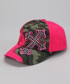 Take a look at this Hot Pink & Camo Cross Baseball Cap by Rhinestone Junkie on #zulily today!