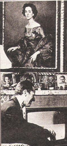 à Laeken, le roi Baudouin avec le portrait de la reine Fabiola (revue point de vue Novembre 1983